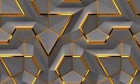 3D Gold Geometric Shapes Wallpaper Grey ...