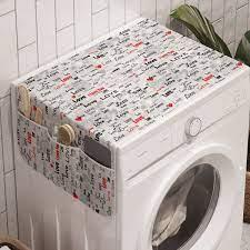 Soyut Çamaşır Makinesi Düzenleyici Uçuk Ton Zeminde İngilizce Sevgi Yazıları