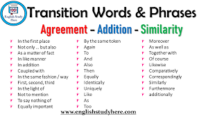 Transition Words Phrases Agreement Addition Similarity