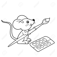 Coloring Page Outline Of Cartoon Little Mouse With Brush And