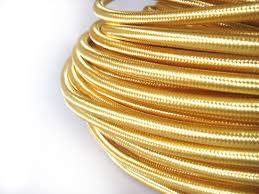 fabric lighting cord. gold fabric covered electrical cord lighting w
