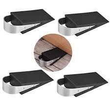 door stopper pertty 4pcs heavy duty rubber wedge black door stops with stainless steel hangle for kitchen bedroom garage office doors