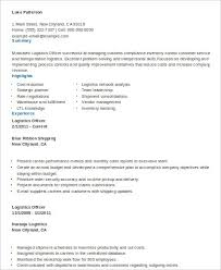 Logistics Officer Sample Resume Mwb Online Co