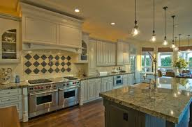 Home Design : Home Decor With Beautiful Kitchen Fitted Kitchen Cabinets And  Countertop With Sink And Gas Stove Plus A Hanging Lamp And Also The Right  Corner ...