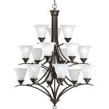 trinity 15 light antique bronze chandelier with etched glass shade