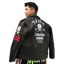original autumn winter street brand retro men punk style leather jacket armed front embroidery skull print