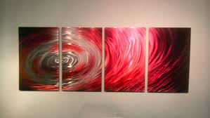abstract metal wall art. Crimson Surge - Abstract Metal Wall Art Contemporary Modern Decor