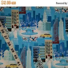 New York City Christmas fabric Central from Connie's Quilt & New York City Christmas fabric Central Park Carriage Statue of Liberty  landscape cotton print quilt sewing Adamdwight.com