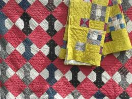 old antique patchwork quilts in barn red & yellow, bow-tie & nine ... & old antique patchwork quilts in barn red & yellow, bow-tie & nine patch  quilt Adamdwight.com