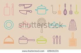 Trendy Kitchenware Vector Kitchenware Line Icon Set Cookware Stock Vector  407246509 . Impressive Design Ideas