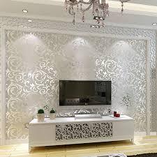 silver glitter wallpaper in living room