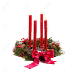 Pine Cone Candles Christmas Wreath With Red Candles And Pine Cones Isolated On