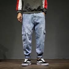 Light Blue Jeans Streetwear 2019 Jeans Men Jean Streetwear Zipper Pockets Jeans Man Blue Denim Light Colored Loose Japanese Harem Trousers Plus Szie From Benedica 69 97