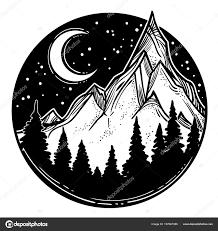 красивые векторные иллюстрации пейзаж природа горы луна реки