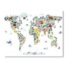 world theme map wall art print only