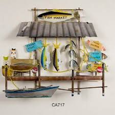 fish market metal wall art on tiki metal wall art with tiki hut tropical resort metal wall sculpture hurricane rita