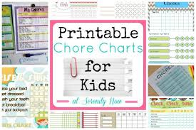 Somewhat Simple Chore Chart Serenity Now Printable Kids Chore And Responsibility Charts