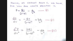 critical constants in term of van der waal s constant