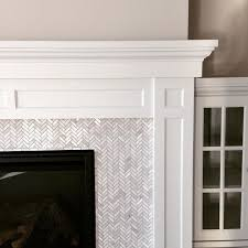 for master fireplace hampton small herringbone marble mosaic tile