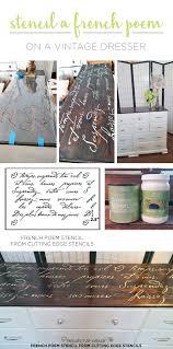 cutting edge furniture. cutting edge stencils shares a diy stenciled dresser makeover using the french poem stencil furniture e
