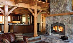 the napoleon high country nz6000 in log cabin with rock surround