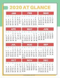 One Sheet Calendar 2020 Free Printable 2020 Calendars Love Our Real Life