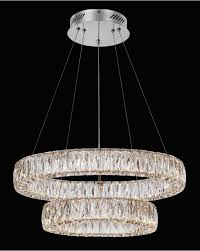 sevilla chrome double ring led crystal pendant light inside chandelier decor 4