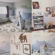 Baby Boy bedroom nursery | painted mountains, out west, teepee, twin boys,
