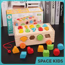 Đồ chơi gỗ thông minh ô tô thả hình khối và lắp ghép số cho bé vui chơi,  học tập Space Kids chính hãng 180,000đ