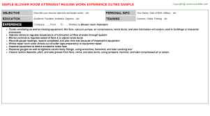 Blower Room Attendant Resume Resumes Templates
