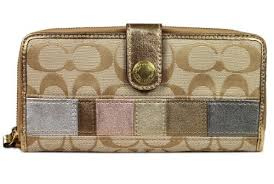 The Features Coach 47833 Signature Stripe Multi Stripe Accordion Zip Around  Wallet -