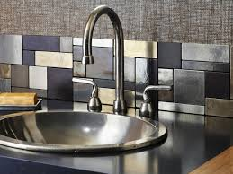 ... Vibrant metallic kitchen backsplash
