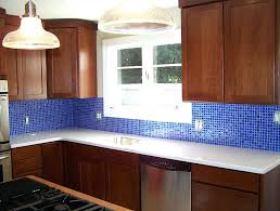 blue glass backsplash tiles white beach house kitchen with linear glass