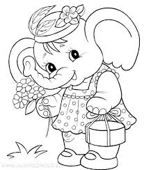 Cute Elephant Coloring Page Coloring Elephant Coloring Page
