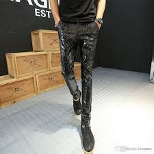 2019 whole 2016 new hot motorcycle leather joggers fashion mens punk drapped printed pants cool skinny faux leather pu pants for men from dianer