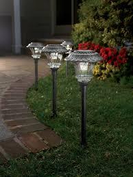 garden path lights. Set Of 4 Solar Garden Path Lights \u2013 Glass And Powder Coated Cast Aluminum Metal 6 Bright LED\u0027s Per Light - 35 Lumens Output LED Easy No Wire