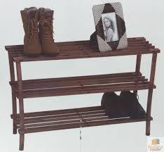 3 tier timber shoe rack stackable indoor natural wooden shelf stand home decor