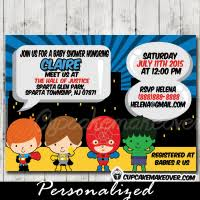 Superhero Baby Shower Package Includes Invitation Due Date Superhero Baby Shower Invitation