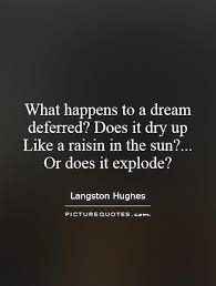 A Raisin In The Sun Dream Quotes Best of Whathappenstoadreamdeferreddoesitdryuplikearaisininthe
