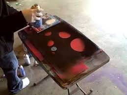 reverse spray paint art on glass