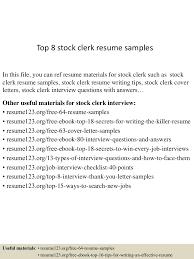 Stock Clerk Job Description For Resume Top224stockclerkresumesamples224conversiongate224thumbnail24jpgcb=12429929247224 15