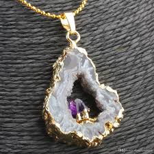 whole white purple amethyst agate druzy drusy geode slice random shape pendant jewelry pendant necklaces uk long pendant necklace from dongnanshipin