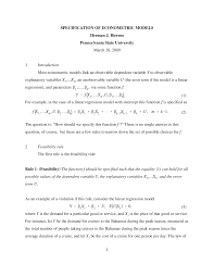 Lecture Notes Course Specification Of Econometrics Models Econ