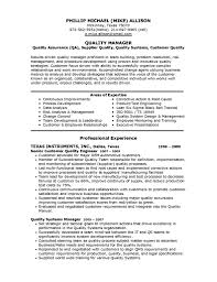 Ideas Of Quality Manager Resume Sample On Job Summary Gallery