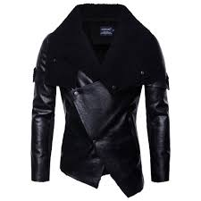 featured men s autumn winter new warm leather jacket personality collar fashion coat