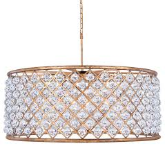 crystal grid hoop 10 light antique gold clear with led bulbs