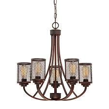 millennium lighting akron 25 5 in 5 light rubbed bronze industrial cage chandelier