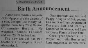 Birth Announcement In Newspaper Birth And Birthday Announcements From The Bridgeport Index Newspaper
