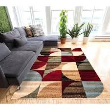 brown and red area rug geometric abstract patchwork modern shapes ivory beige red blue and brown brown and red area rug