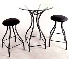 wrought iron bistro bar and table set with glass top